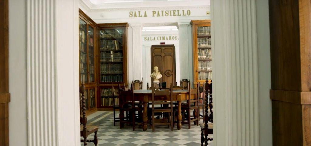 Scuola napoletana. sala del Conservatorio  San Pietro Maiella a Napoli ove si insegnava l'antica arte dei partimenti
