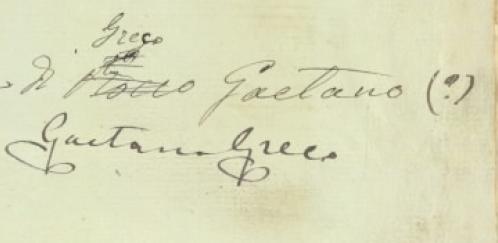 Qualcuno ha corretto il manoscritto e lo ha attribuito a Gaetano Greco